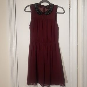 Zara Red Sheer Dress with Beaded Collar